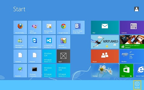 How to uninstall software on Windows 8 - Windows 8 application menu