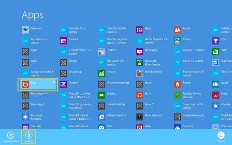 How to uninstall software on Windows 8 - Windows 8 application menu