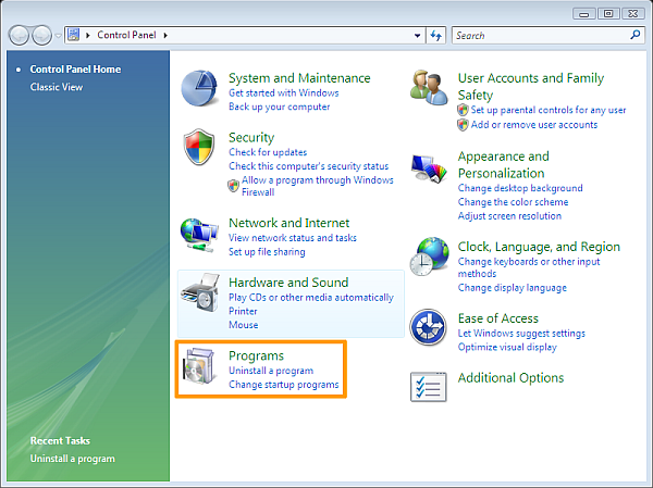 How to uninstall software on Windows Vista - Windows Vista Control Panel category view