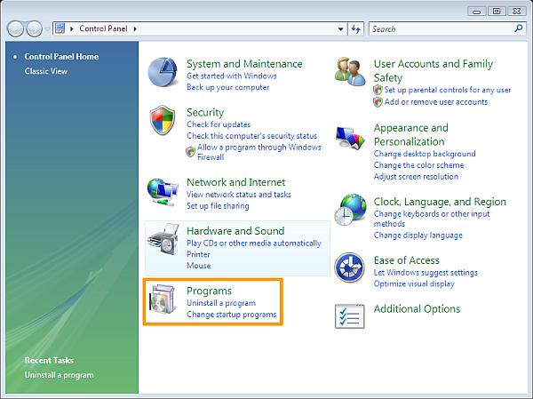 How to uninstall software on Windows Vista - Windows Vista Control Panel category view