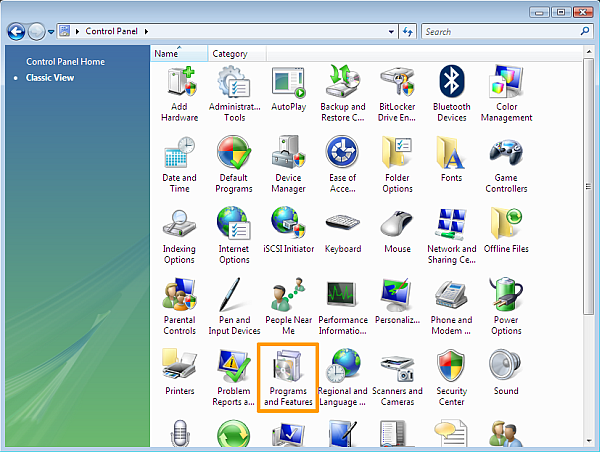 How to uninstall software on Windows Vista - Windows Vista Control Panel icon view