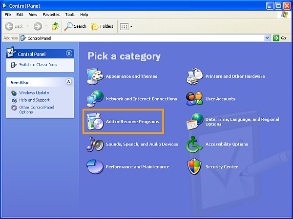 How to uninstall software on Windows XP - Select Add/Remove programs from the Control Panel