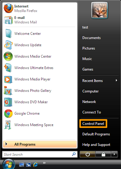 How to uninstall software on Windows Vista - Select Control Panel from Start Menu