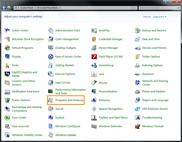 How to uninstall software on Windows 7 - Windows 7 Control Panel icon view